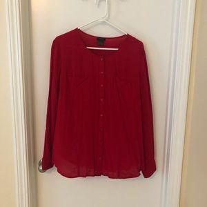 Red long sleeve Ann Taylor blouse
